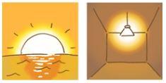 夕陽と電球色